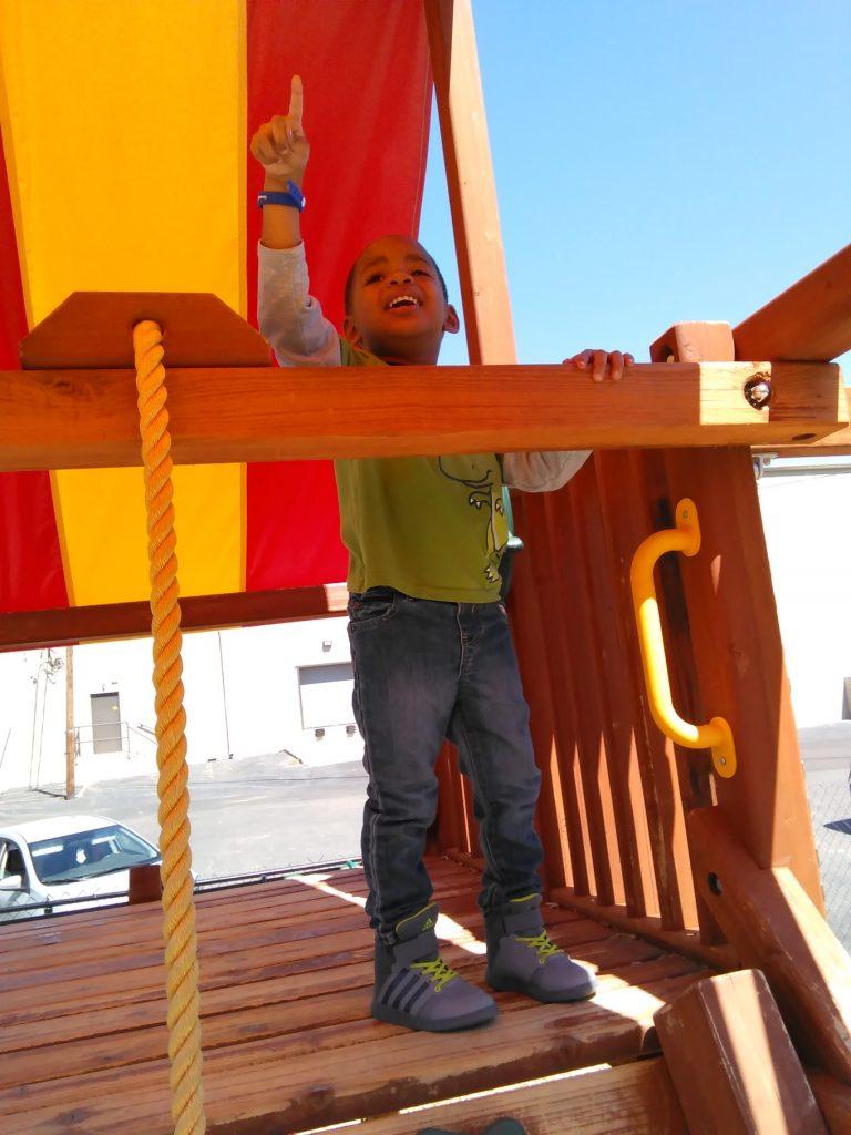Sharif's son on a playground