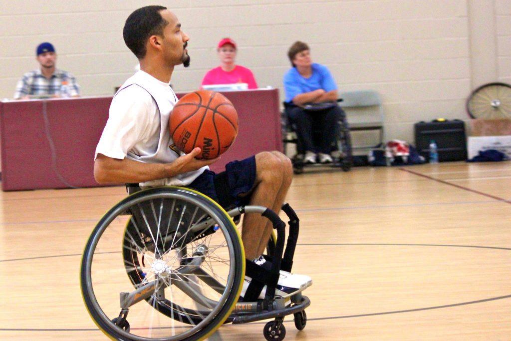 Chris playing basketball