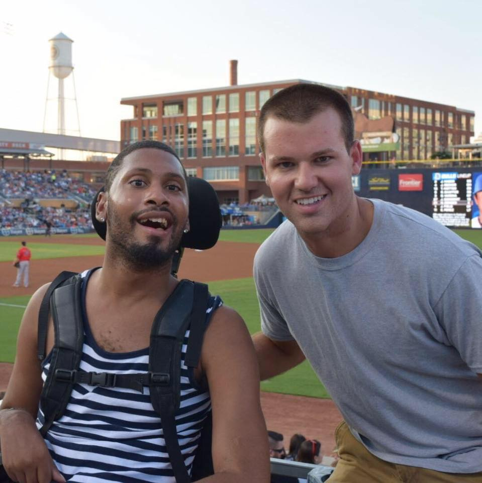 Josh Cummins and friend at a Durham Bulls game